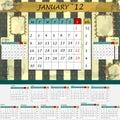 Alla 2012 calendar inställda månatliga månader Arkivbilder