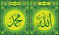 Allah & Muhammad Islamic Calligraphy with green flower border frame