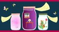 Allegorical vector illustration. Scents of the summer, romantic dinner and cheerful little dragon in glass jars