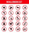 Allergen free products icons set of insects and wool dust and medicine and odor vector illustration Stock Photo