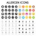 Allergen icons set Royalty Free Stock Photo