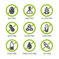 Allergens icons set of food labels gmo free products Stock Image