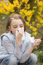 Allergic rhinitis have a little girl blowing nose Stock Images