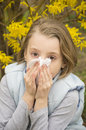 Allergic rhinitis have a little girl blowing nose Stock Image