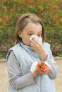 Allergic rhinitis have a little girl blowing nose Royalty Free Stock Image