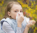 Allergic rhinitis a little girl have blowing nose Royalty Free Stock Photos