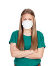 Allergic teen with face mask isolated on white background Royalty Free Stock Photo