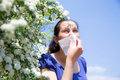 Allergic woman sneezing in handkerchief pollen allergy Royalty Free Stock Photos