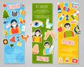 Allergies banner set vertical with allergen disease symptoms stickers isolated vector illustration Stock Photography
