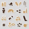 Allergy and allergens color stickers set
