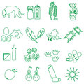 Allergy and allergens green outline icons set eps10