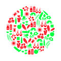 Allergy and allergens red and green icons set eps Stock Photos