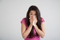 Allergy cold flu allergies the common woman sneezes Stock Photo