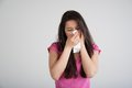 Allergy cold flu allergies the common woman sneezes Royalty Free Stock Photo
