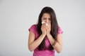 Allergy cold flu allergies the common woman sneezes Stock Photos