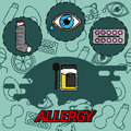 Allergy flat concept icons
