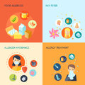 Allergy flat set design concept with food hay fever allergen avoidance treatment icons isolated vector illustration Royalty Free Stock Photography
