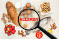 Allergy food concept on wooden table Royalty Free Stock Photos
