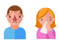 Allergy symbols disease healthcare characters viruses and health flat label people with illness allergen symptoms