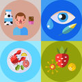 Allergy symbols disease healthcare tablets viruses and health flat label people with illness allergen symptoms disease