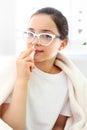 Allergy to pollen girl dripping nose sick drops Stock Photos