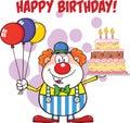 Alles gute zum geburtstag mit clown cartoon character with ballonen und kuchen mit kerzen Lizenzfreie Stockfotografie