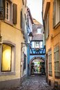 Alley with cobblestones and old architecture seen from  Strasbourg France Royalty Free Stock Photo