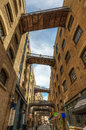 Alley with footbridges in Southwark, London, UK Royalty Free Stock Photo
