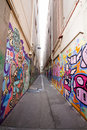 Alley with many Graffiti Royalty Free Stock Photos