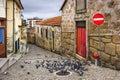 Alley with pigeons vila nova de gaia portugal scene Royalty Free Stock Image