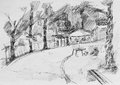 Alley with place for picnic,sketch pencil