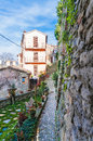 Alley in sassocorvaro view of a little street the italian marches Stock Photography
