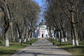 Alley to church nice in kachanivka museum ukraine Royalty Free Stock Photography