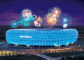 Allianz arena celebration with colorful fireworks at Royalty Free Stock Images