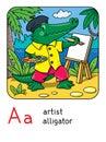 Alligator artist. Animal and profession Alphabet A