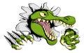 Alligator or crocodile smashing through wall