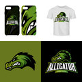 Alligator head sport club isolated vector logo concept.