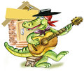 Alligator playing guitar Stock Images