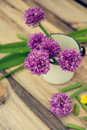 Allium flowers bouquet in a stylish metal decorative vase. Shallow depth of field Royalty Free Stock Photo