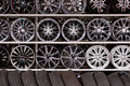 Alloy car wheels wall Royalty Free Stock Photo
