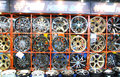 Alloy car wheels wall of in store Royalty Free Stock Photo