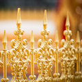 Alloy fence row of the golden pattern Stock Photo