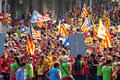 Ally to th anniversary of loss of independence of catalonia barcelona spain september rally national day in barcelona Royalty Free Stock Photos