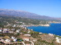 Almirida plaka beach chania crete greece aerial view of Royalty Free Stock Photography