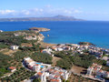 Almirida plaka beach chania crete greece aerial view of Stock Images