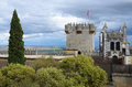 Almodovar castle against the storm sky spanish ancient is photographed between fertile valley of guadalquivir and thundery Stock Photos