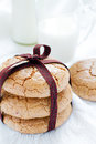 Almond cookies three tied ribbon Royalty Free Stock Photo