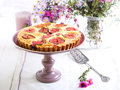 Almond and fig tart on plate selective focus Royalty Free Stock Images
