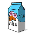 Almond Milk Carton Illustration Royalty Free Stock Images
