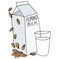 Almond milk carton an image of an and glass Stock Image
